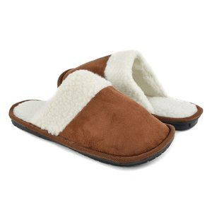 Mens Faux Sherpa Slippers in Chestnut